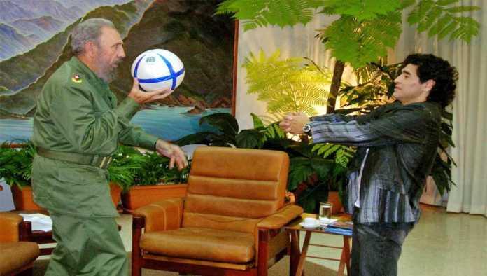 Fidel Castro y el Che Guevara en la piel de Maradona