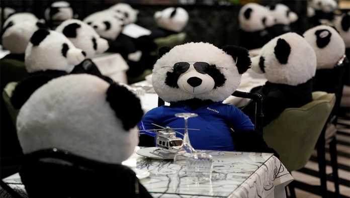 Restaurante en Alemania protesta con osos panda de peluche