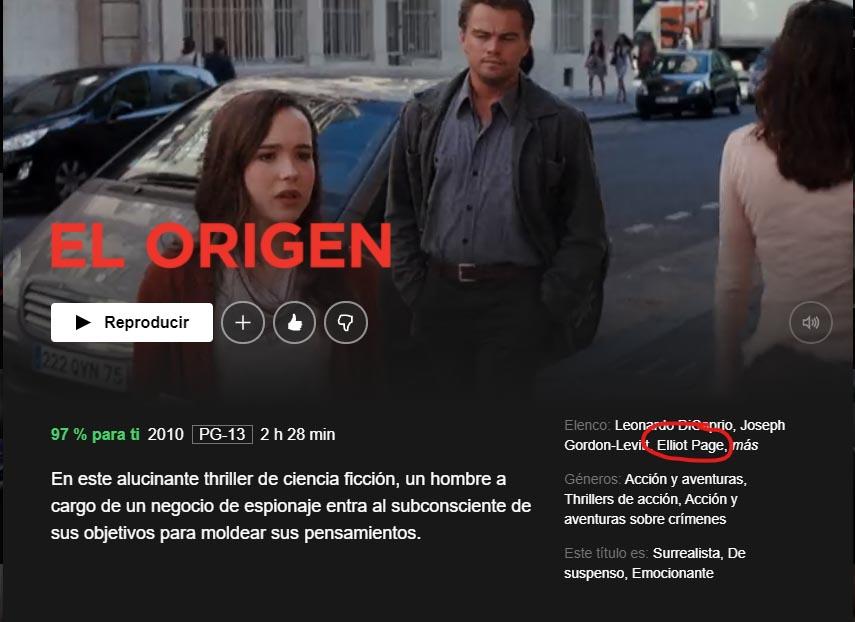 Netflix cambia nombre de Elliot Page