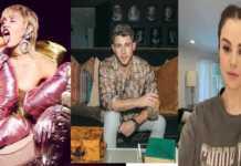 miley cyrus, Nick Jonas y Selena Gomez