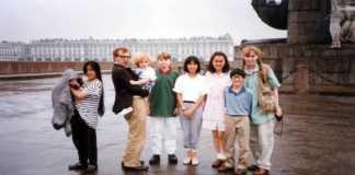 Familia de Woody Allen con Mia Farrow