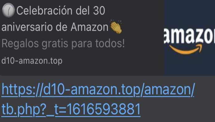 Cadena de WhatsApp sobre Amazon
