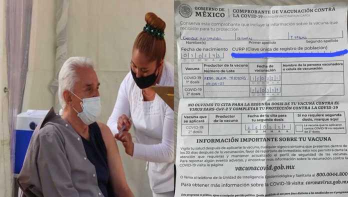 Enrique Guzmán y su certificado de vacunación
