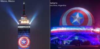 Luces con el escudo del Capitán América