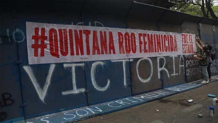 Pinta por el feminicidio de Victoria Salazar
