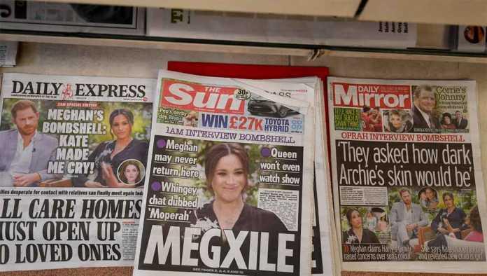 Periódicos con Harry y Meghan Markle