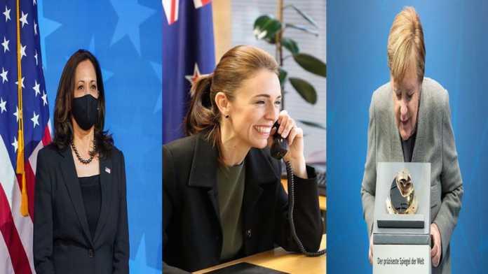 Kamala Harris, Jacinda Ardern y Angela Merkel