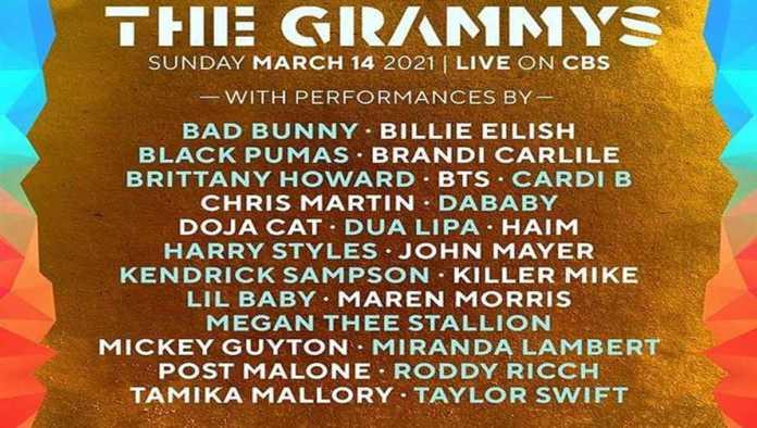 Cartel de artistas que estarán en los Premios Grammy 2021