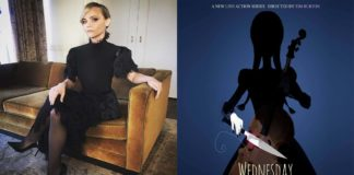Christina Ricci y el póster de Wednesday