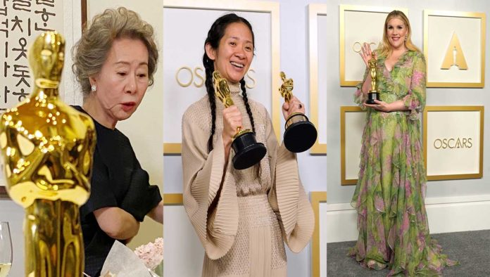 Yuh-Jung Youn, Chloe Zhao y Emerald Fennell