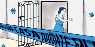 Ilustración que refleja la violencia que padecen mujeres indígenas por la pandemia de COVID-19