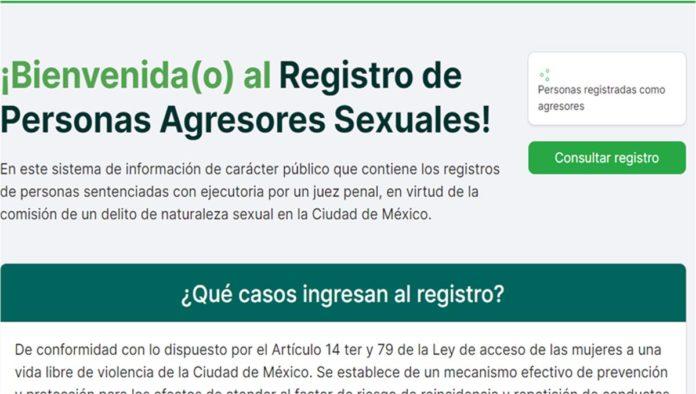 Página del Registro Público de Agresores sexuales