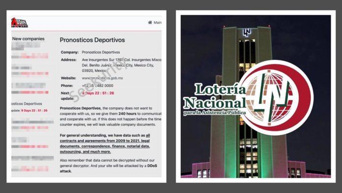Página hackeada de la Lotería Nacional