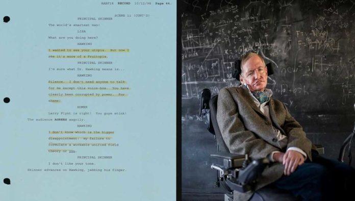 Guion de los Simpsons y Stephen Hawking