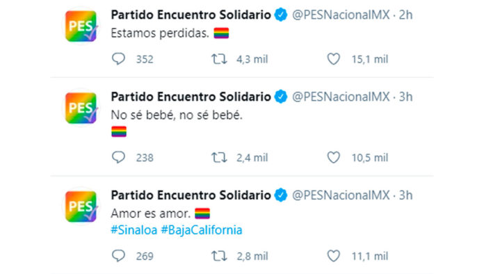 Hackean redes sociales del PES y las llenan de mensajes en apoyo a la comunidad LGBT+