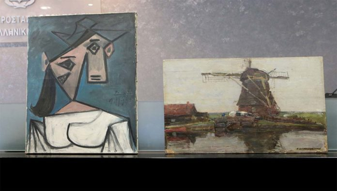 Cuadro de Picasso y Mondrian