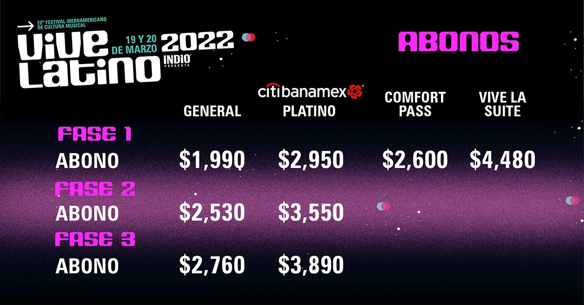 Precios de los boletos para el Vive Latino 2022
